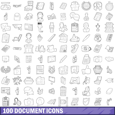 autograph: 100 document icons set in outline style for any design vector illustration