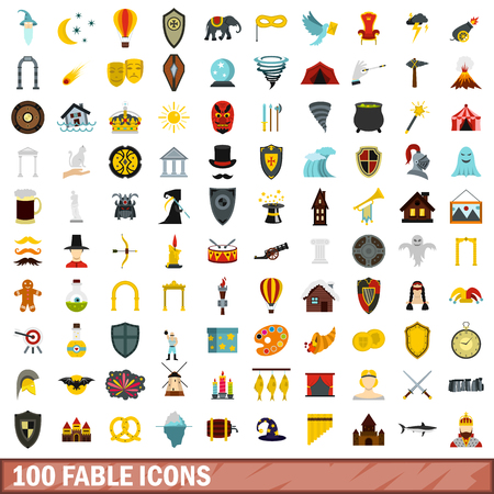 fable: 100 fable icons set, flat style Illustration