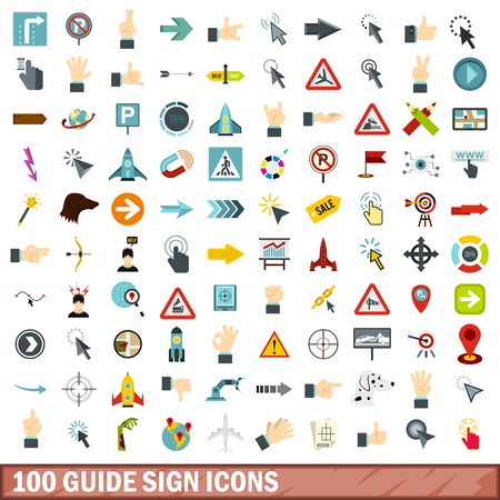 100 guide sign icons set, flat style