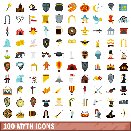 halberd: 100 myth icons set, flat style