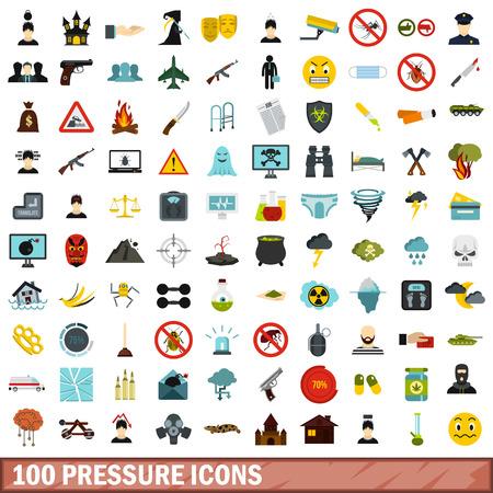 begging: 100 pressure icons set, flat style Illustration