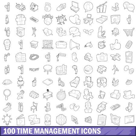 Ensemble d'icônes de gestion du temps 100, style de contour Vecteurs