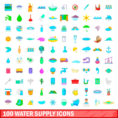 100 water supply icons set, cartoon style