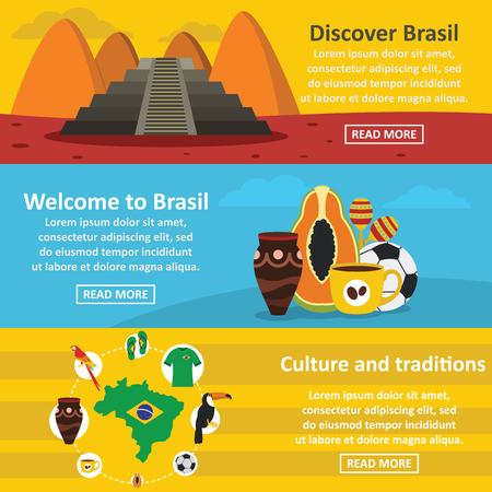 Brasil travel banner horizontal set, flat style