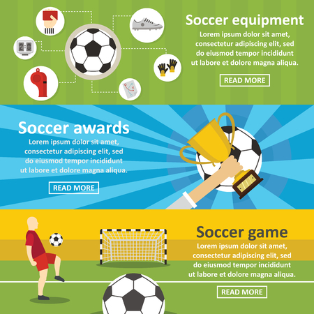 Soccer football banner horizontal set, flat style