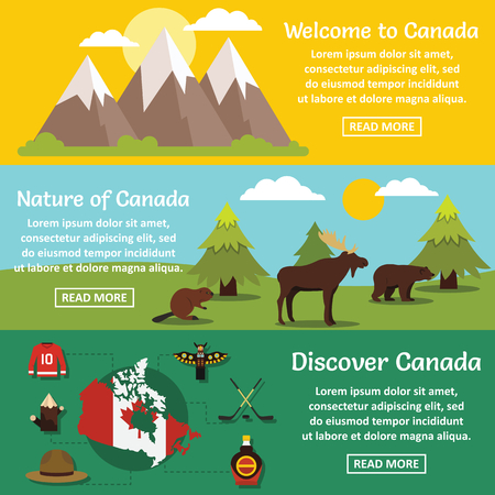 Canada travel banner horizontal concept set. Flat illustration of 3 Canada travel vector banner horizontal concepts for web
