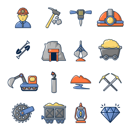 sifting: Mining minerals business icons set, cartoon style