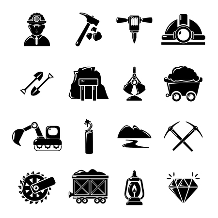 sifting: Mining minerals business icons set, simple style Illustration
