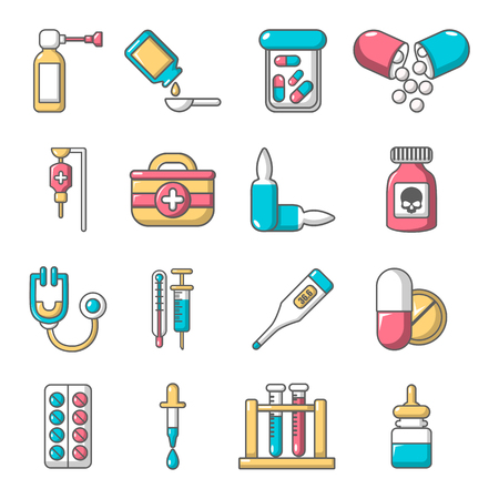 ampoule: Drug medicine icons set, cartoon style