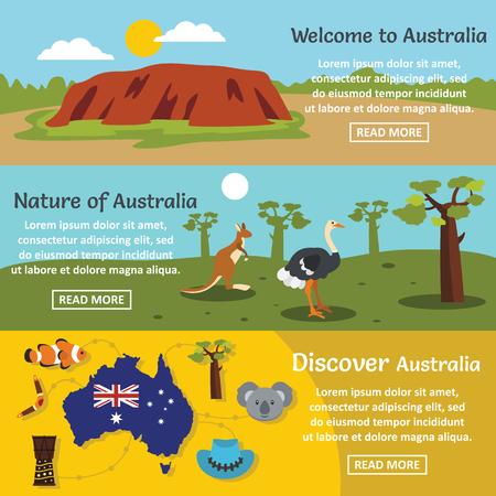 Australia travel banner horizontal set, flat style Stock Photo