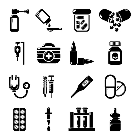 ampoule: Drug medicine icons set. Simple illustration of 16 drug medicine icons set vector icons for web