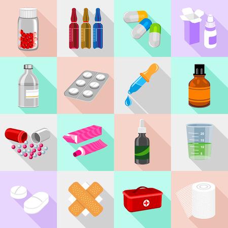Les icônes des formes de médicaments sont définies. Illustration plate de 16 icônes de formes de drogue, icônes vectorielles pour web Vecteurs