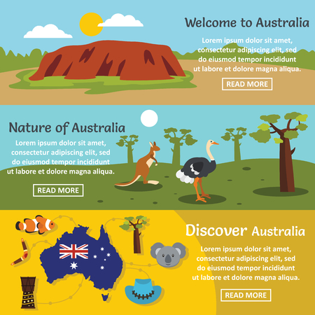 Australia travel banner horizontal concept set. Flat illustration of 3 Australia travel vector banner horizontal concepts for web