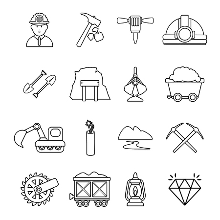 sifting: Mining minerals business icons set. Outline illustration of 16 mining minerals business vector icons for web
