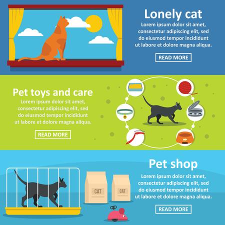 gait: Cat care tools banner horizontal concept set. Flat illustration of 3 cat care tools vector banner horizontal concepts for web Stock Photo
