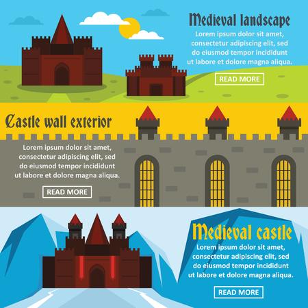 drawbridge: Medieval castle banner horizontal set, flat style