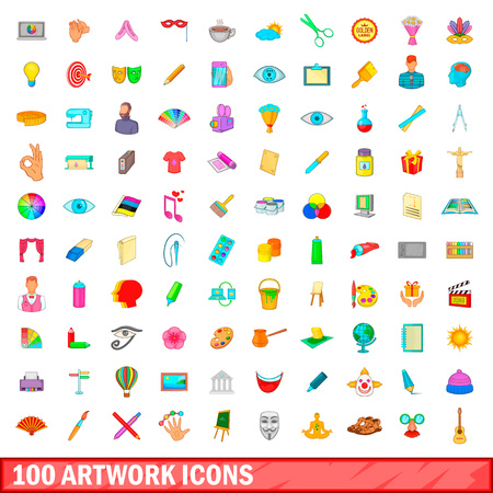 sketchpad: 100 artwork icons set, cartoon style