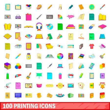 100 printing icons set, cartoon style