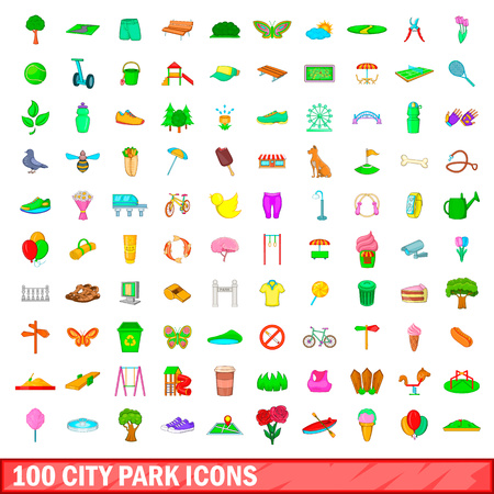 100 city park icons set, cartoon style.