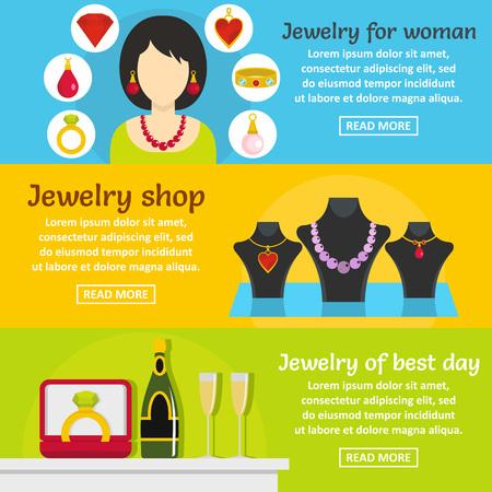Jewelry gift banner horizontal set, flat style