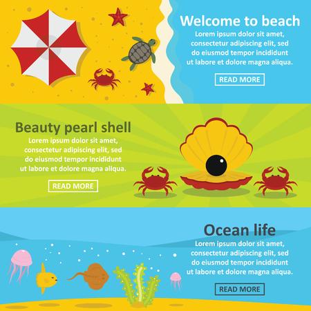 Ocean life banner horizontal set, flat style