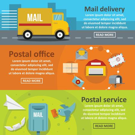 carrier pigeons: Postal delivery banner horizontal set, flat style Illustration
