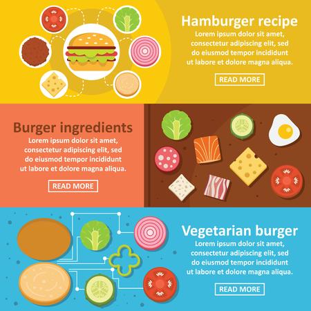 cottage cheese: Burger kit banner horizontal set, flat style Illustration