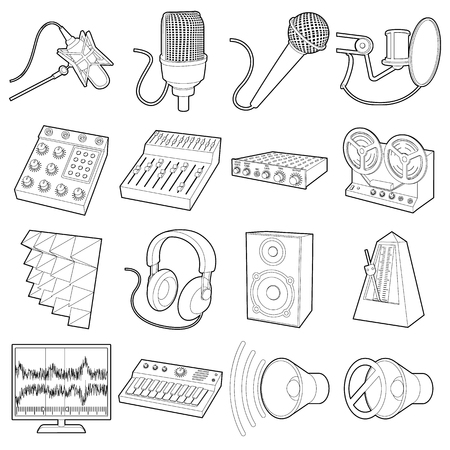 metronome: Recording studio symbols icons set, outline style