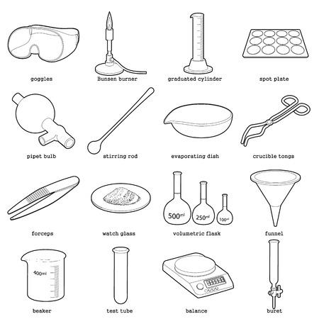 化学実験室のツール アイコンを設定、アウトラインのスタイル  イラスト・ベクター素材