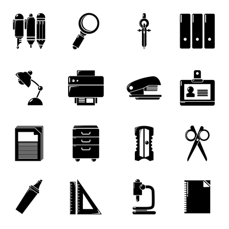 paper pin: Stationery icons set, simple style