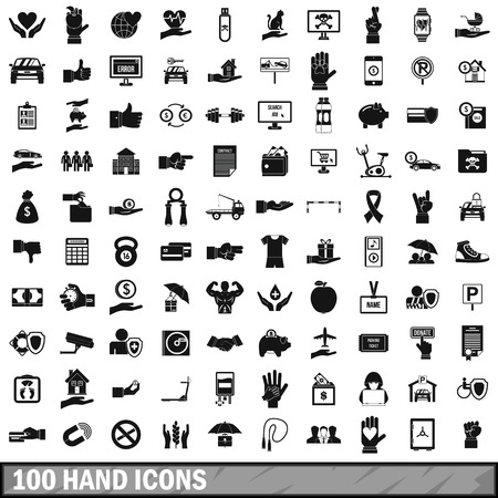 100 hand icons set in simple style for any design vector illustration