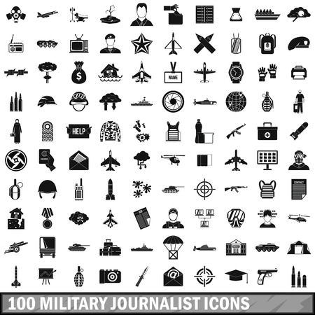 bullet camera: 100 military journalist icons set in simple style for any design vector illustration