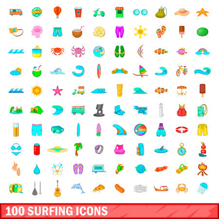 beach sunset: 100 surfing icons set in cartoon style for any design vector illustration