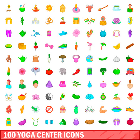 100 yoga center icons set in cartoon style for any design vector illustration Stock Photo
