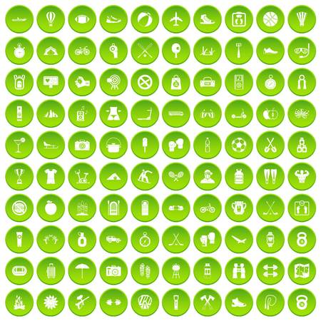 100 active life icons set green circle isolated on white background vector illustration Illustration