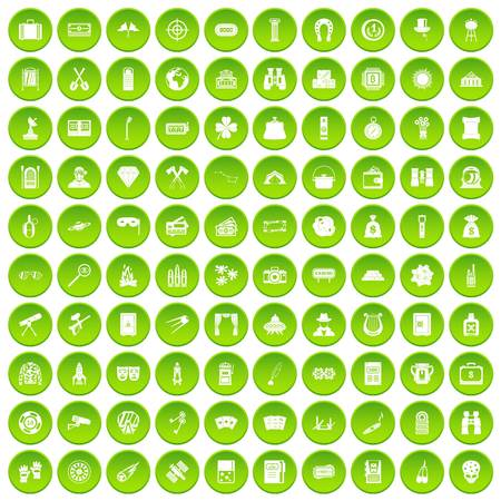 100 adult games icons set green circle isolated on white background vector illustration