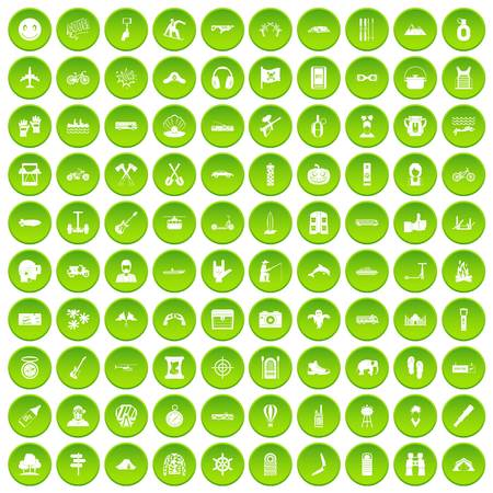 100 adventure icons set green circle isolated on white background vector illustration Illustration