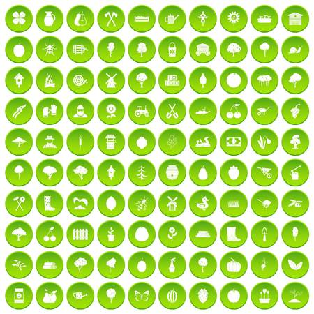 100 agriculture icons set green circle isolated on white background vector illustration