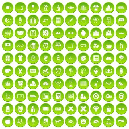100 alarm clock icons set green circle isolated on white background vector illustration Illustration
