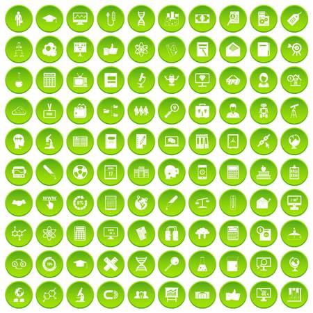 100 analytics icons set green circle