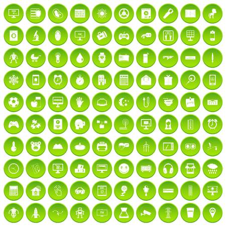 100 app icons set green circle