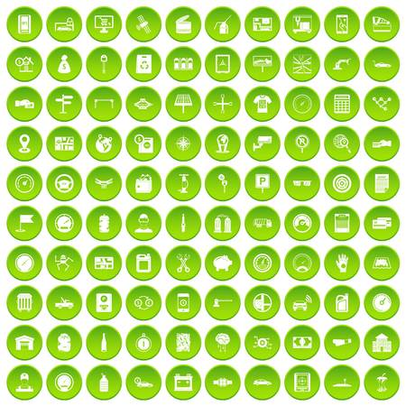 100 auto repair icons set green circle