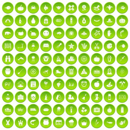 100 autumn holidays icons set green circle Illustration