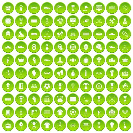 100 awards icons set green circle