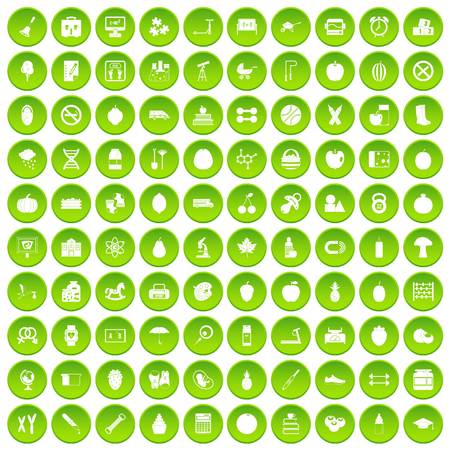100 apple icons set green circle