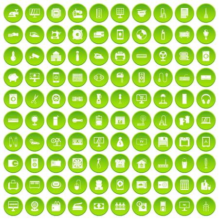 100 appliances icons set green circle Illustration