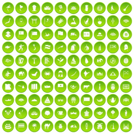 100 Asia icons set green circle