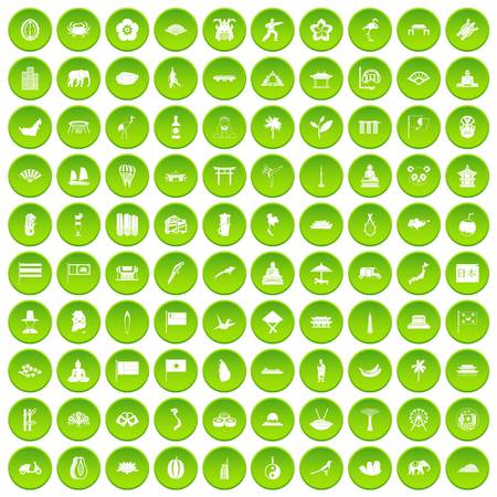 100 asian icons set green circle Illustration