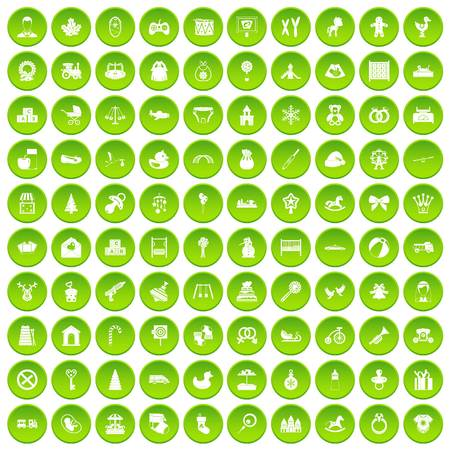 100 baby icons set green circle Illustration