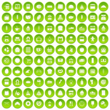 100 bakery icons set green circle Illustration